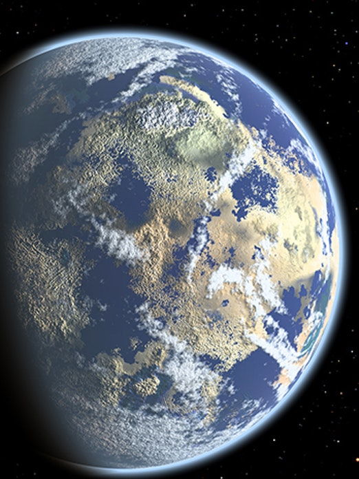 Artist's depiction of a new Earth forming around a red dwarf star.