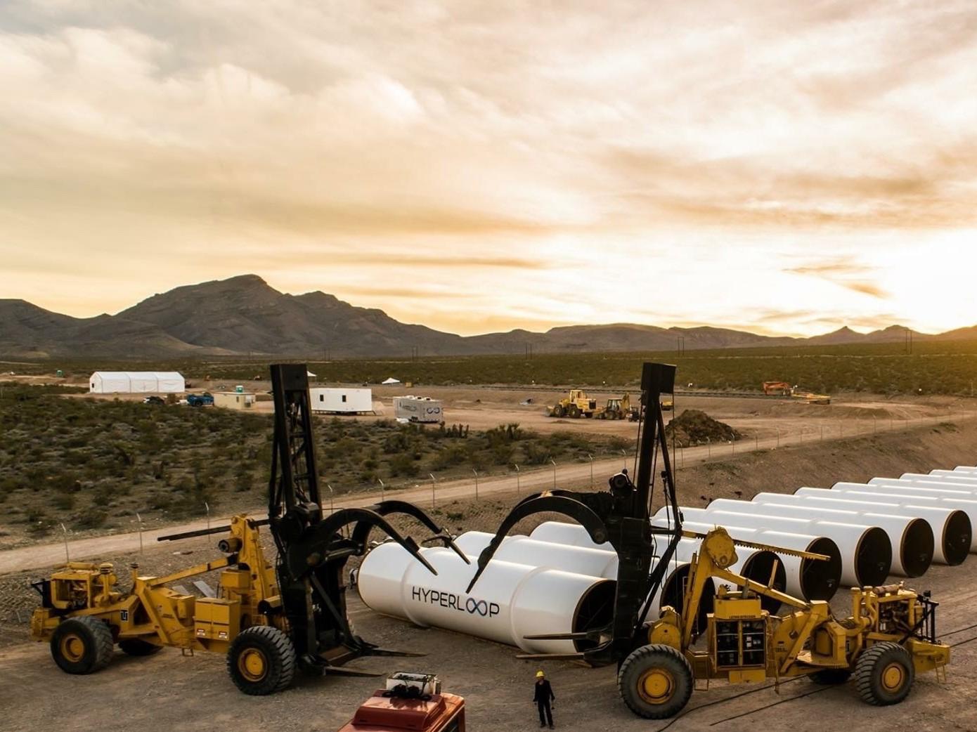 Construction on a test hyperloop track begins.