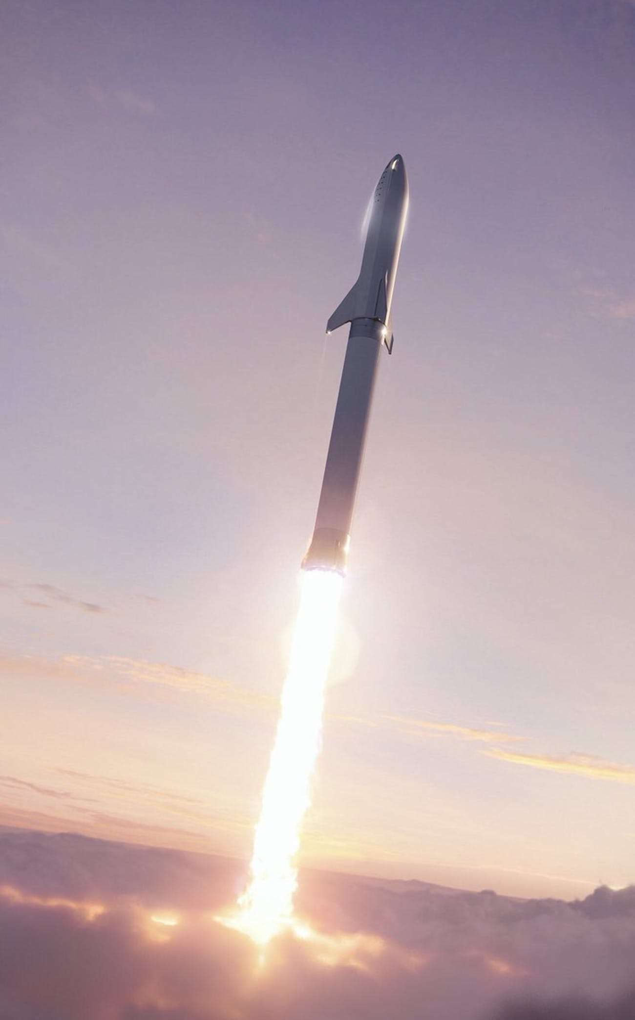 The new BFR design launching into space.