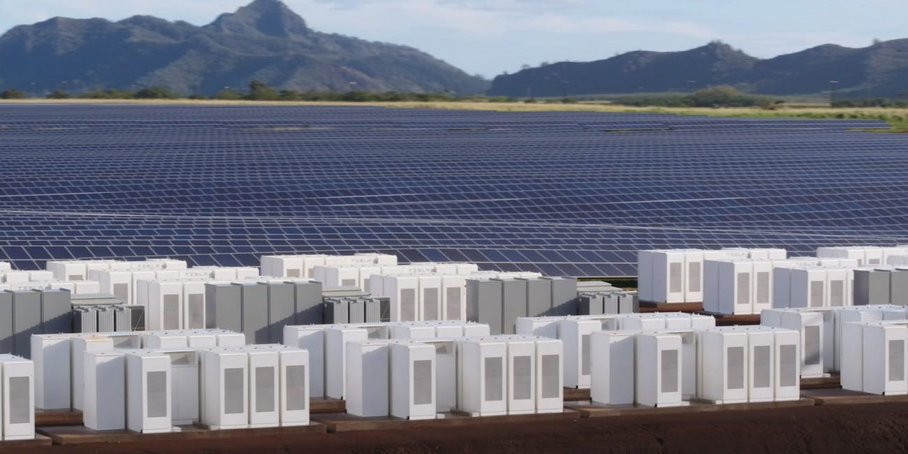 The Tesla Powerpack setup is seen in this company rendering.