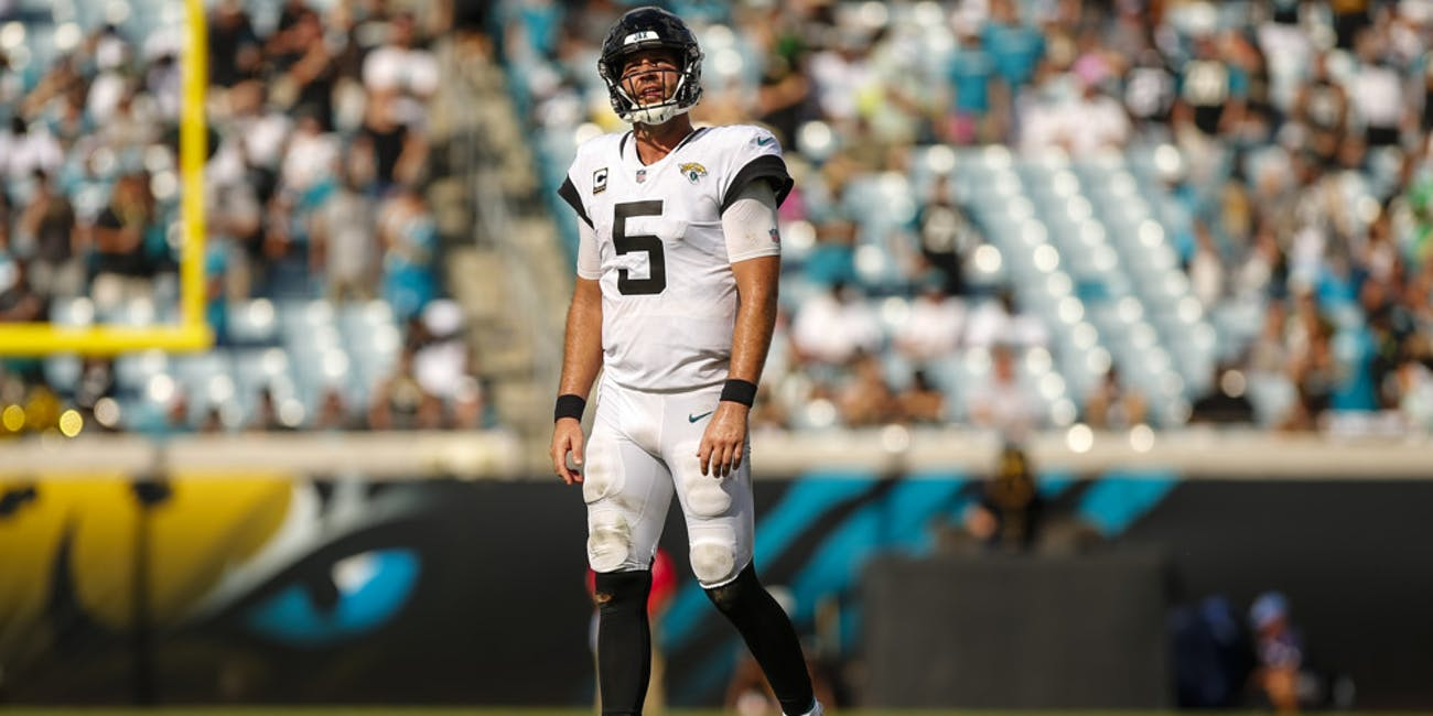 p.p1 {margin: 0.0px 0.0px 0.0px 0.0px; font: 18.0px Georgia}    Jacksonville Jaguars quarterback Blake Bortles (5) looks up at the scoreboard during the game between the New York Jets and the Jacksonville Jaguars on September 30, 2018 at TIAA Bank Field in Jacksonville, Fl.