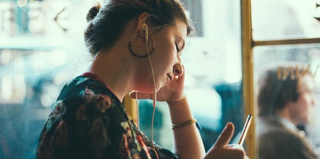 teen girl, smartphone, listening to music