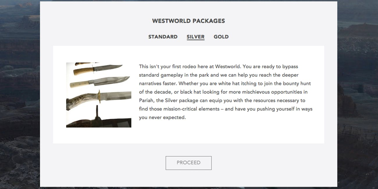 "Westworld's ""Silver"" package."