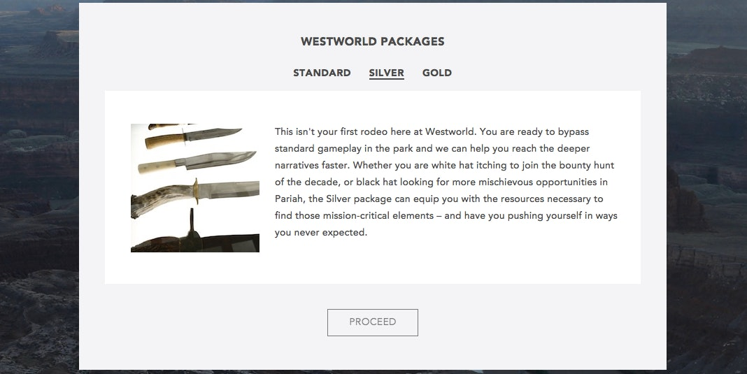 """Westworld's """"Silver"""" package."""