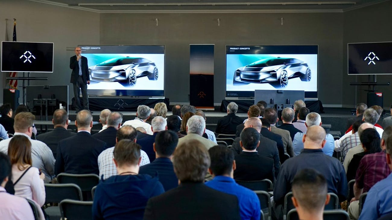 Faraday Future SVP of Product Strategy, Nick Sampson, discussing the company's next cars.