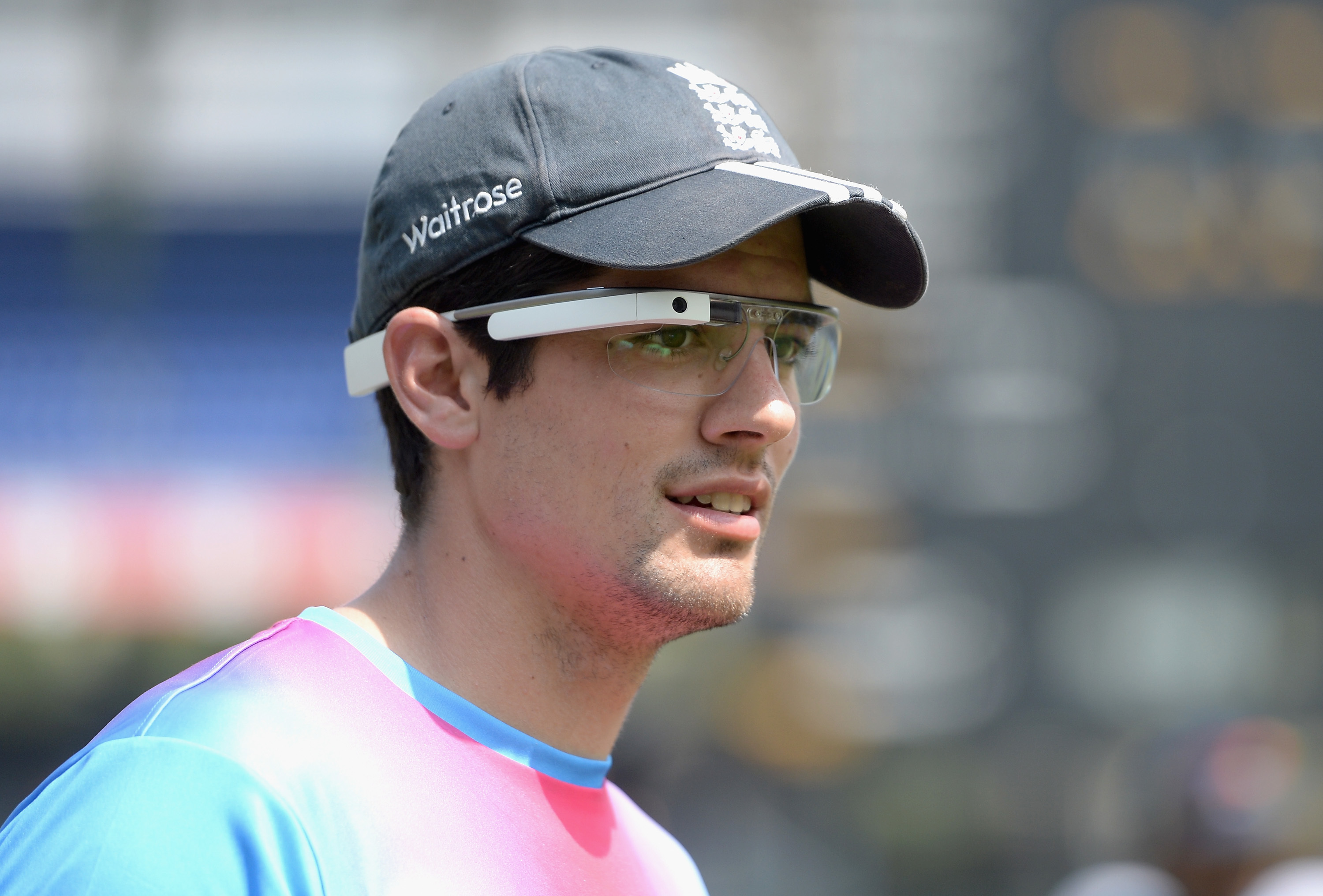 England captain Alastair Cook wears pair of Google Glass glasses.