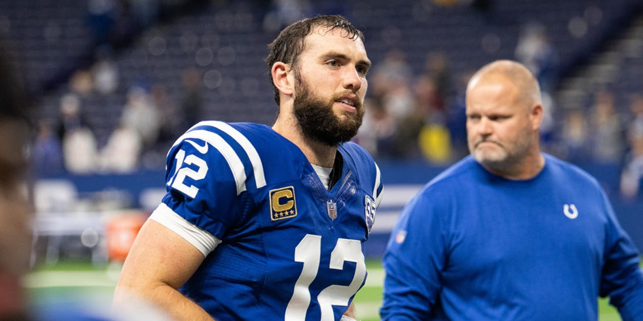 p.p1 {margin: 0.0px 0.0px 0.0px 0.0px; font: 18.0px Georgia}Indianapolis Colts quarterback Andrew Luck (12) walks off the field after the NFL game between the New York Giants and Indianapolis Colts on December 23, 2018, at Lucas Oil Stadium in Indianapolis, IN.