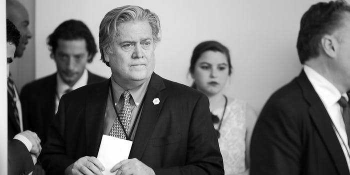 WASHINGTON, DC - JUNE 01: Senior Counselor to the President Steve Bannon helps with last minute preparations before President Donald Trump announces his decision to pull out of the Paris climate agreement at the White House June 1, 2017 in Washington, DC. Trump pledged on the campaign trail to withdraw from the accord, which former President Barack Obama and the leaders of 194 other countries signed in 2015 to deal with greenhouse gas emissions mitigation, adaptation and finance so to limit global warming to a manageable level. (Photo by Chip Somodevilla/Getty Images)