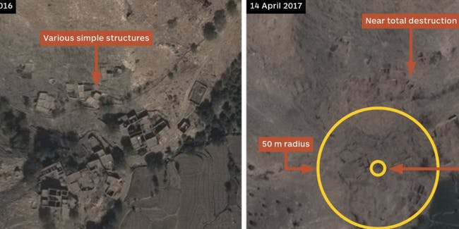 Satellite Images Show the Mother of All Bombs's Devastating Impact