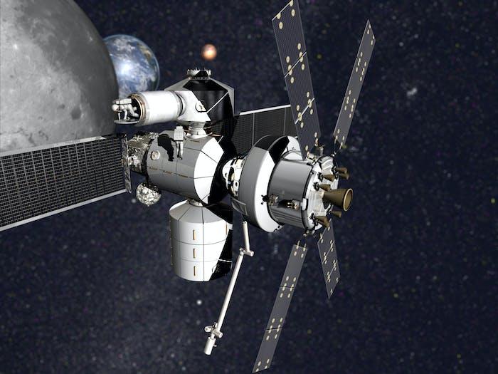 Concept image of Lockheed Martin's refurbished multi-purpose logistics module prototype