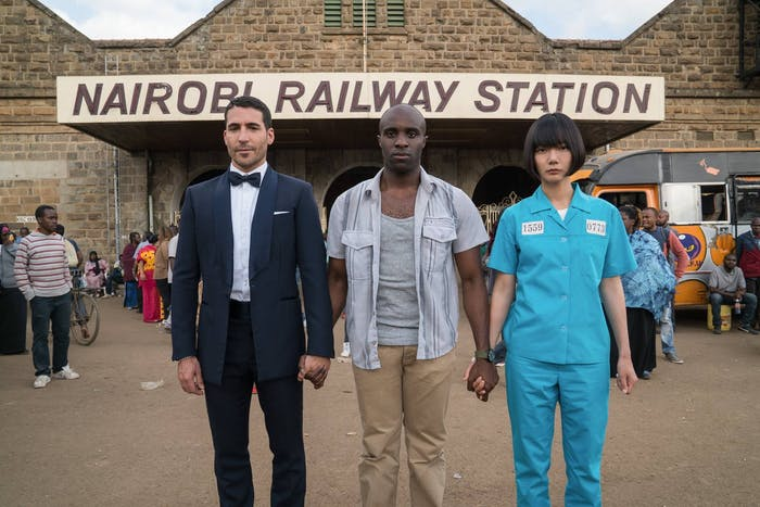 Miguel Ángel Silvestre, Toby Onwumere, and Doona Bae in Sense8 Season 2