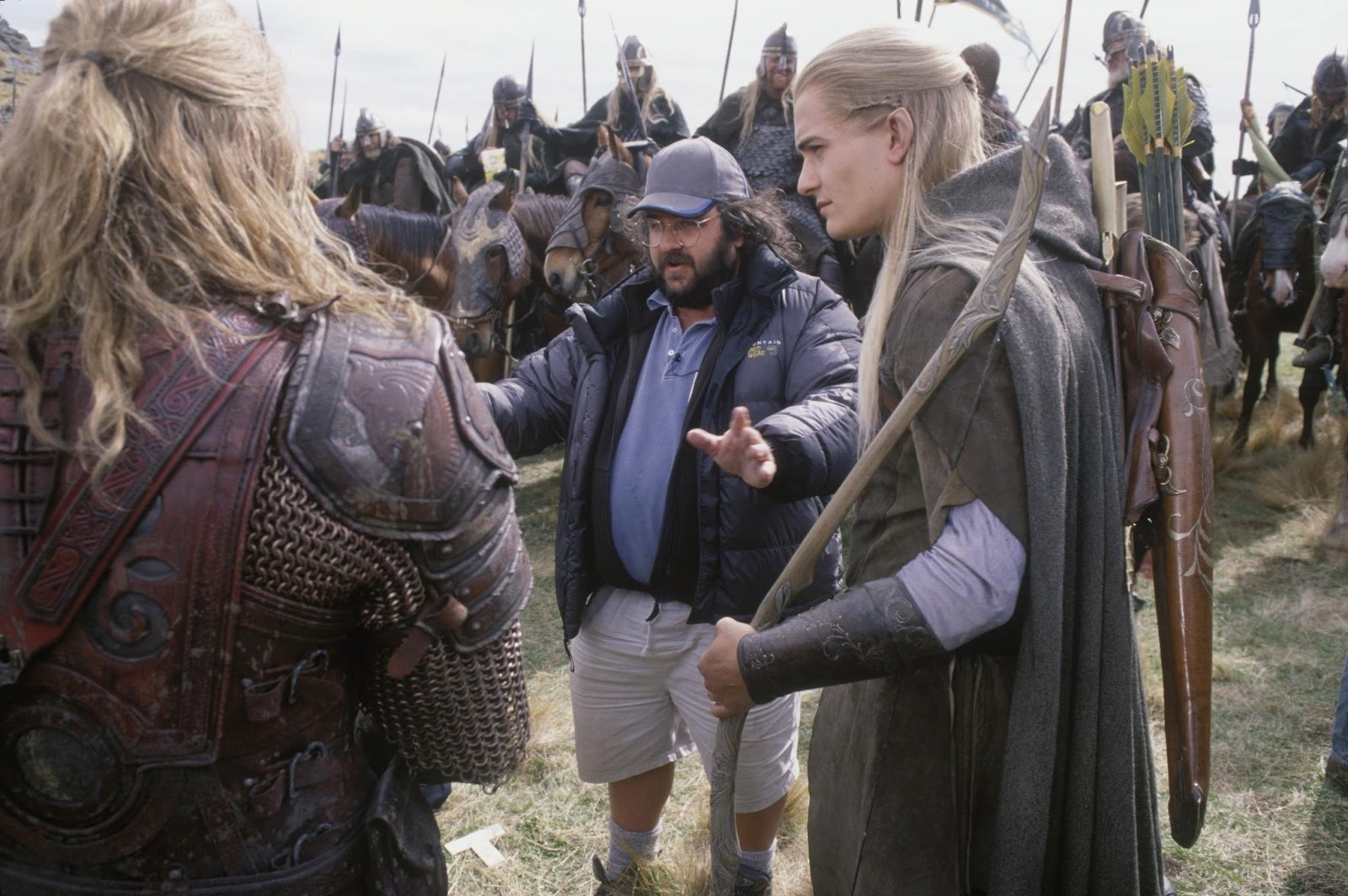 Peter Jackson directs Orlando Bloom and Karl Urban in 'The Two Towers'.
