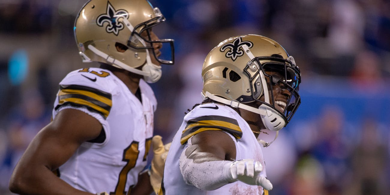 p.p1 {margin: 0.0px 0.0px 0.0px 0.0px; font: 18.0px Georgia}    East Rutherford, New Jersey, US - New Orleans Saints running back ALVIN KAMARA (41) celebrates a touchdown during a regular season game at MetLife Stadium in East Rutherford, NJ. New Orleans Saints defeat the New York Giants 33 to 18