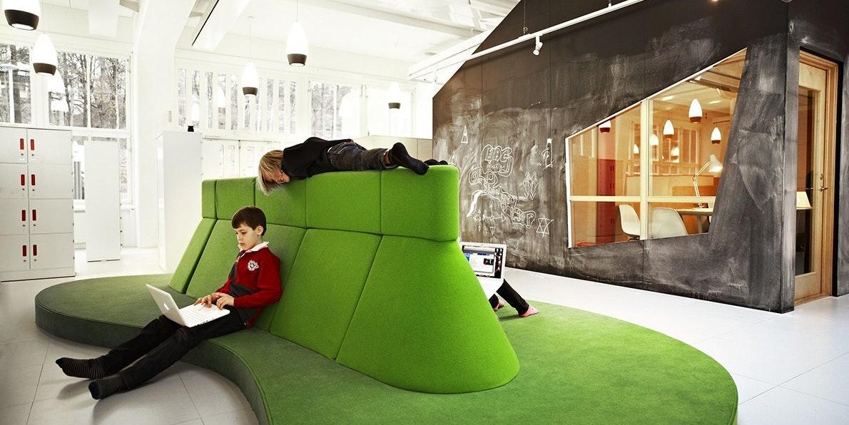 Vittra flexible design school no walls futuristic education