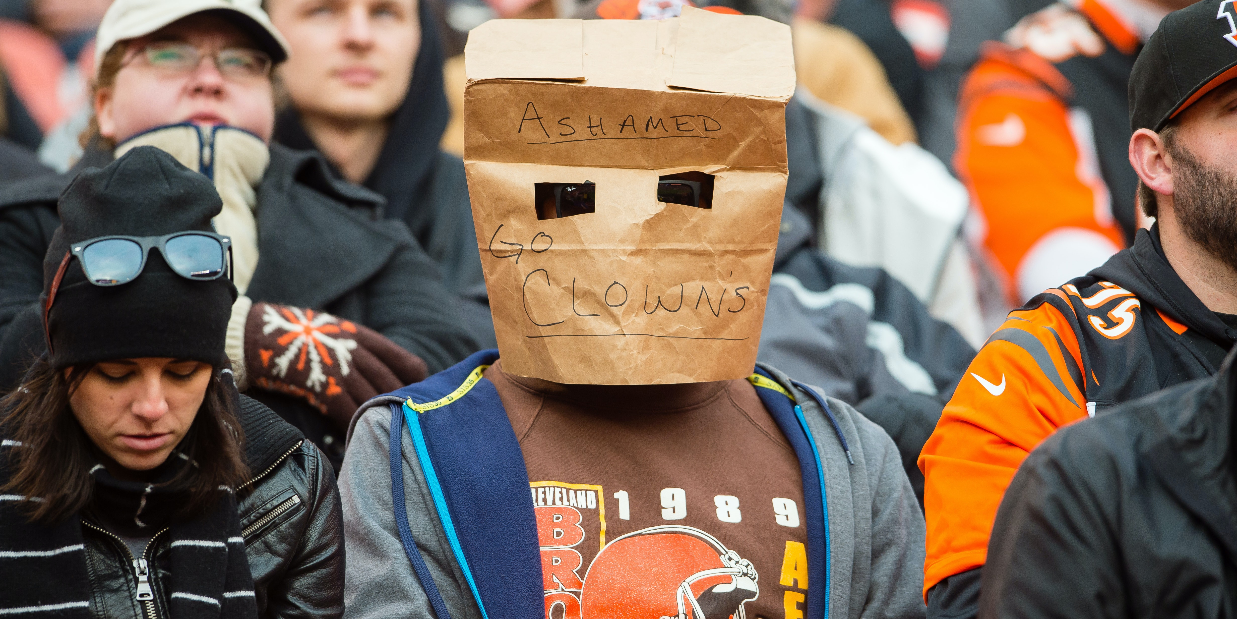 CLEVELAND, OH - DECEMBER 6: A Cleveland Browns fan expresses their disappointment with the team during the second half against the Cincinnati Bengals at FirstEnergy Stadium on December 6, 2015 in Cleveland, Ohio. The Bengals defeated the Browns 37-3. (Photo by Jason Miller/Getty Images)