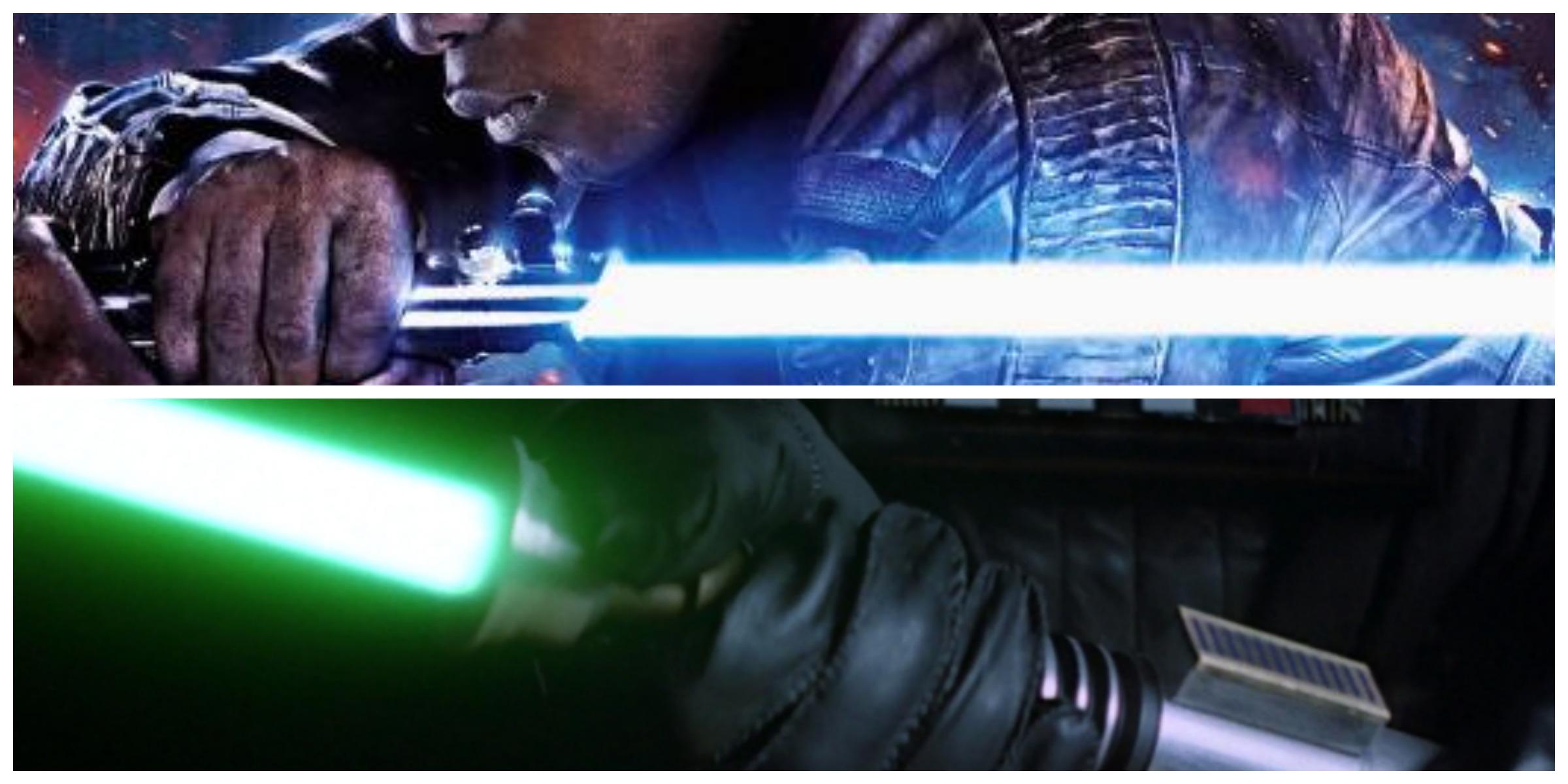 TOP: Finn holding Anakin/Luke's lightsaber. BOTTOM: Vader holding Luke's second lightsaber.