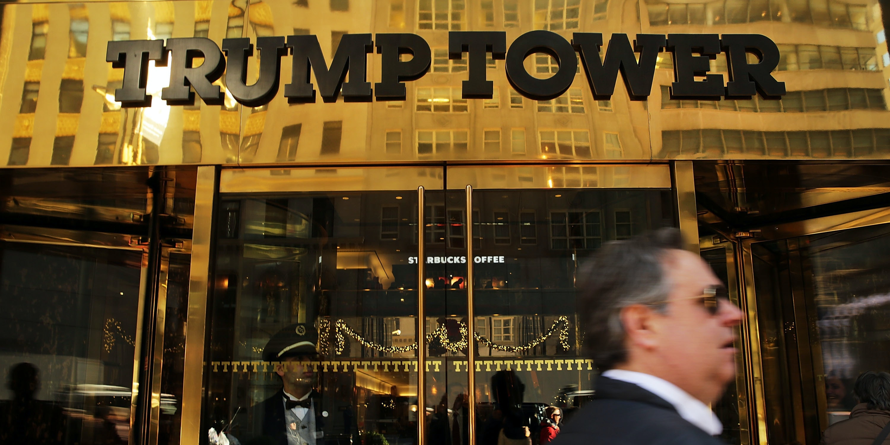 NEW YORK, NY - DECEMBER 08:  People walk by the Trump Tower in Midtown Manhattan on December 8, 2015 in New York City. Donald Trumps latest incendiary remarks concerning Muslims has led to criticism across the nation, including many of his fellow GOP presidential candidates. Trump said in a recent speech in South Carolina that he would block all Muslims from entering the United States until further intelligence and security measures were in place.  (Photo by Spencer Platt/Getty Images)