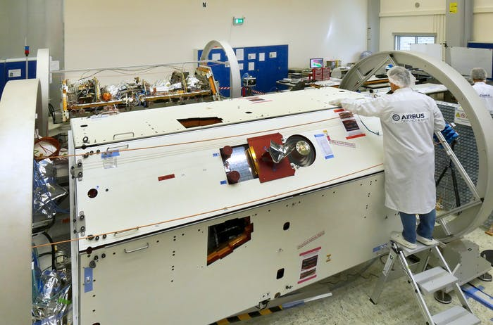 One of the GRACE-FO satellites under construction.