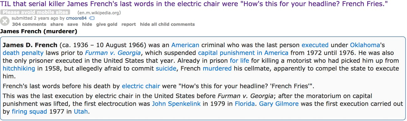 Screengrab from Reddit about murdered James French