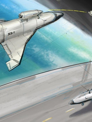 Artist's rendering of DARPA's low-cost experimental spaceplane XS-1.