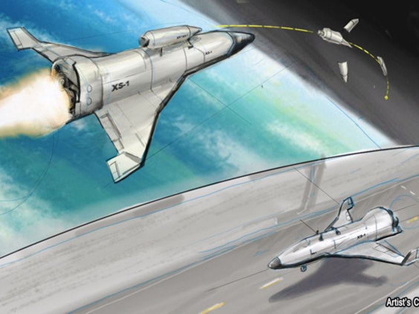 Artist's rendering of DARPA's low-cost experimental spaceplane XS-1.