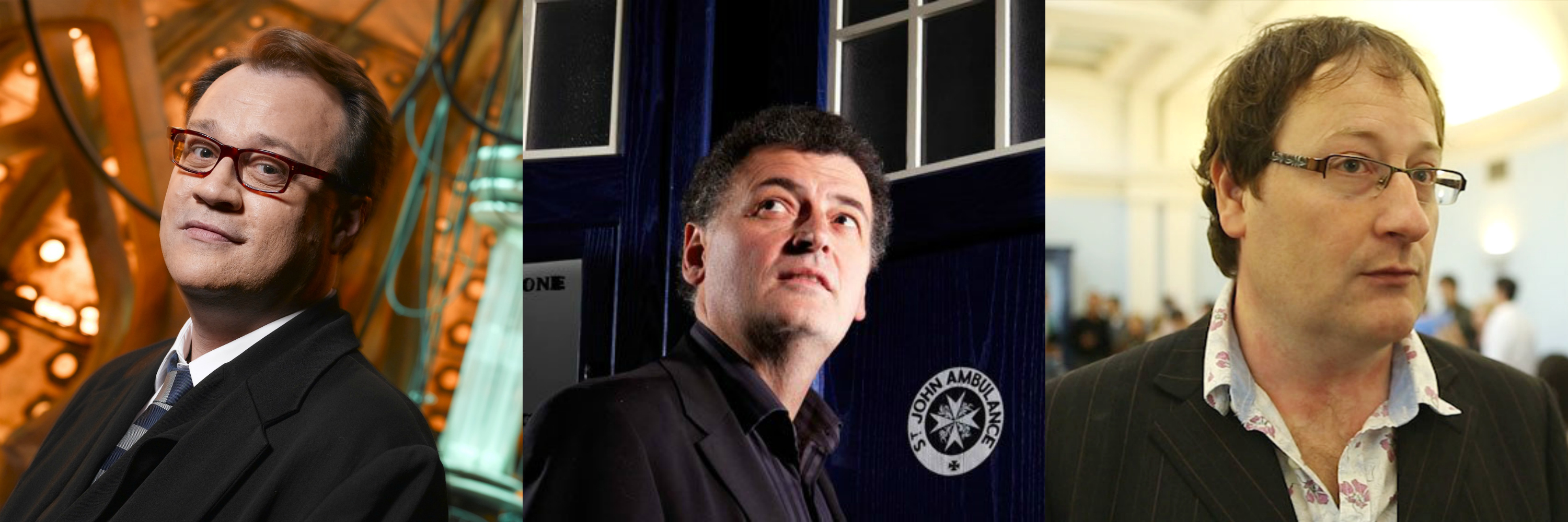 Russell T. Davies (left) has refused Steven Moffat's (center) repetitive offers to return to write for 'Doctor Who.' It looks as if Moffat will do the same for upcoming 'Doctor Who' showrunner Chris Chibnall (right).
