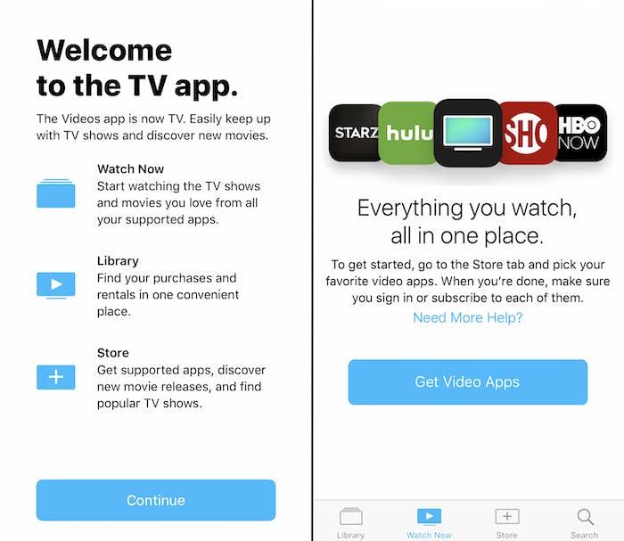 TV's welcome screen.