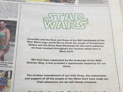 'Star Wars VIII' Production Thanked West Cork, Ireland with This Advertisment