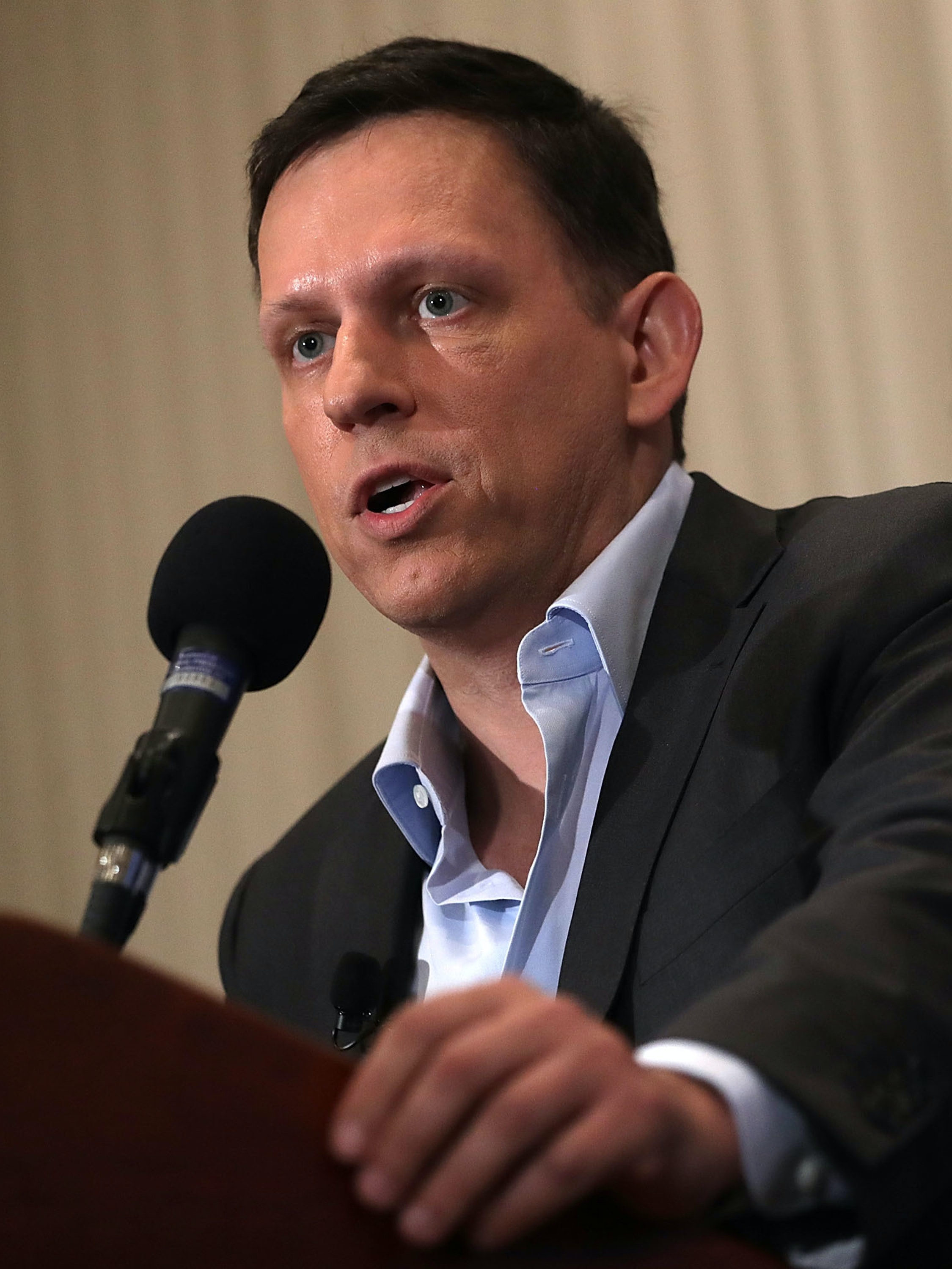 Entrepreneur Peter Thiel gives remarks at the National Press Club on October 31, 2016 in Washington, DC. Thiel discussed his support for Republican presidential nominee Donald Trump.