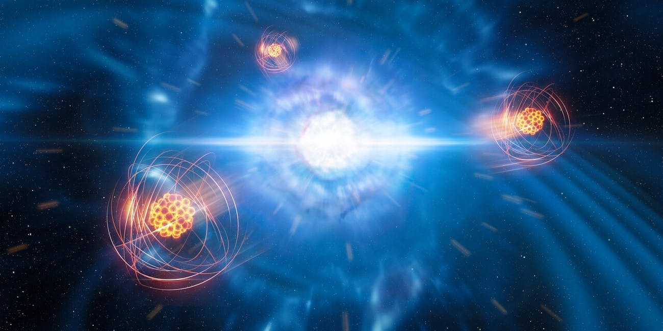 An artist's illustration of Strontium being emitted from the aftermath of a neutron star collision