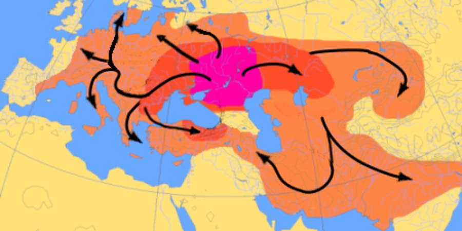 Indo-European expansion 4000–1000 BC, according to the Kurgan hypothesis. Even within the Kurgan hypothesis, there is considerable uncertainty, mainly depending on assumptions about the w:Tocharians, the w:Corded ware culture and the w:Beaker culture. The central purple area is supposed to show early w:Yamna culture (4000–3500 BC); the dark red area could show expansion to about 2500 BC, and the lighter red area expansion to about 1000 BC.