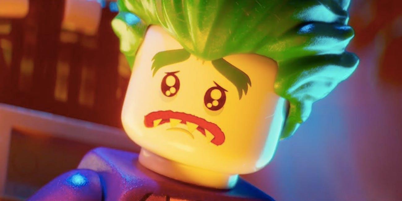 Lego Joker voiced by Zach Galifianakis in the Lego Batman Movie from Warner Bros.