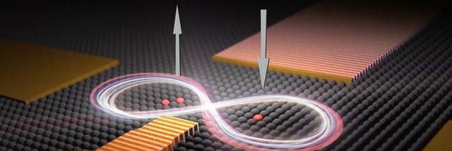An artist's impression of two qubits -- one made of two phosphorus atoms and one made of a single phosphorus atom -- placed 16 nanometres apart in a silicon chip. UNSW scientists were able to control the interactions between the two qubits so the quantum spins of their electrons became correlated. When the spin of one electron is pointing up, the other points down.