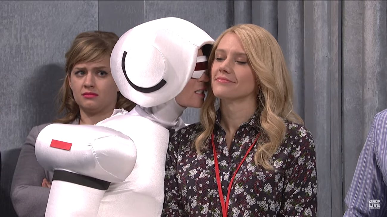 Emily Blunt plays a pushy humanoid robot on this week's episode of SNL.