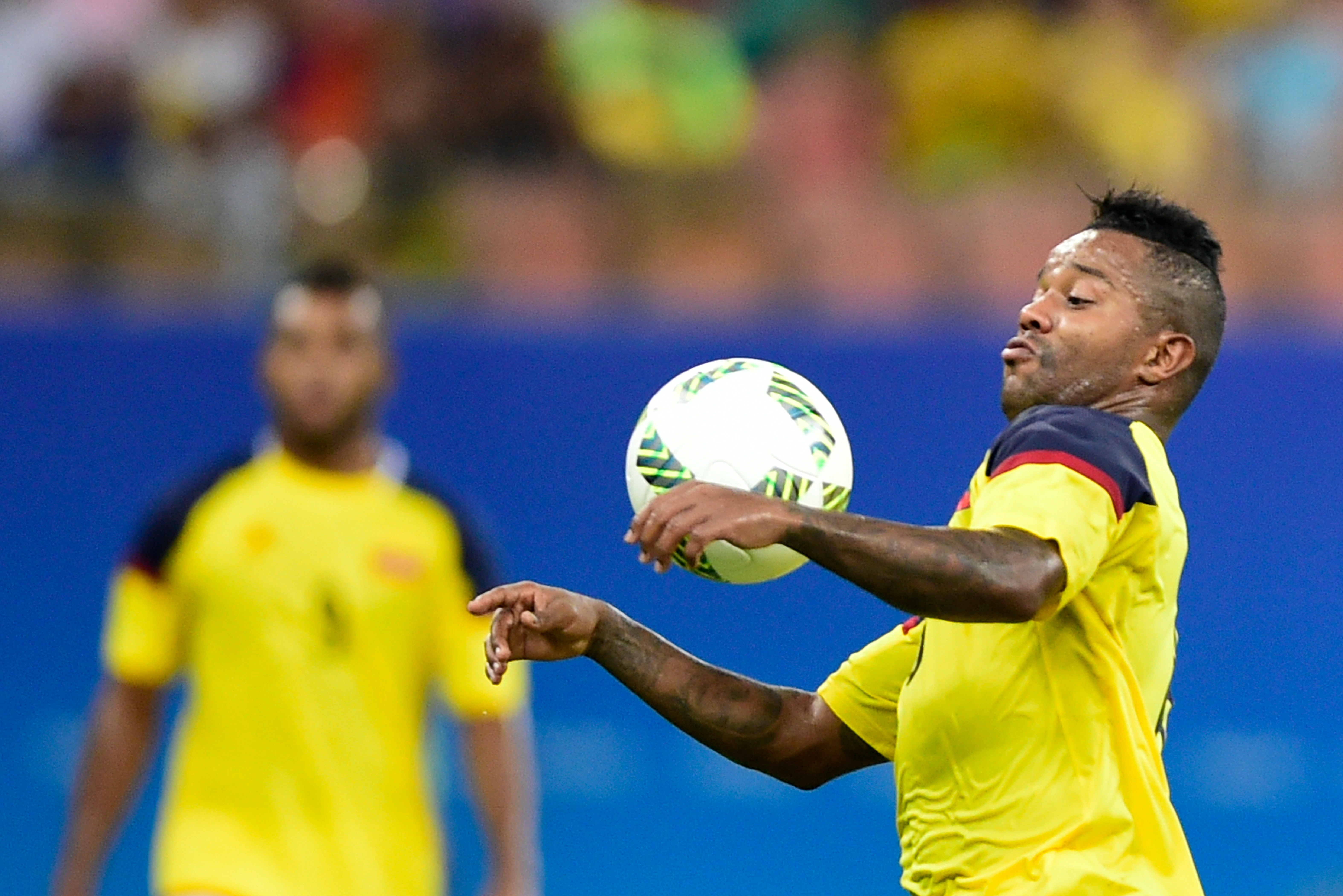 Dorlan Pabn of Colombia playing Japan in the Olympics at Arena Amazonia in Manaus.