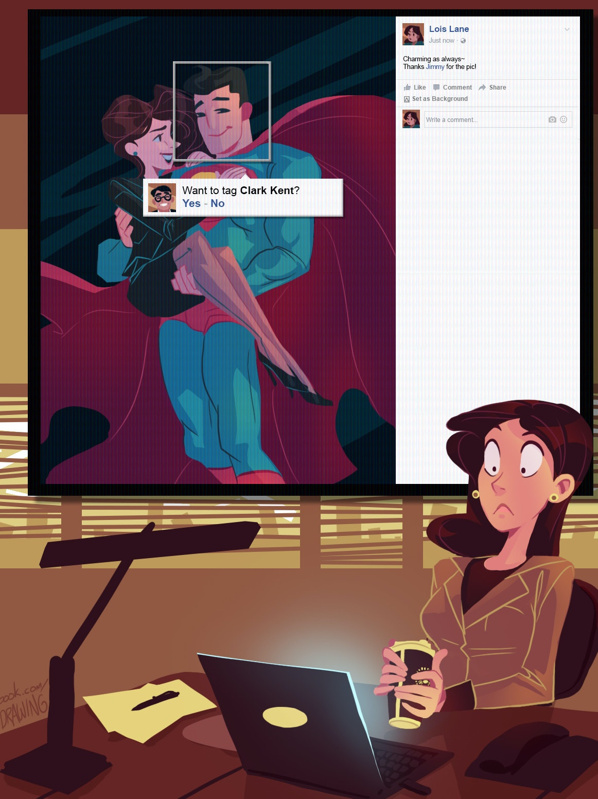 Fanart of Superman, Lois Lane, and Facebook's Algorithm
