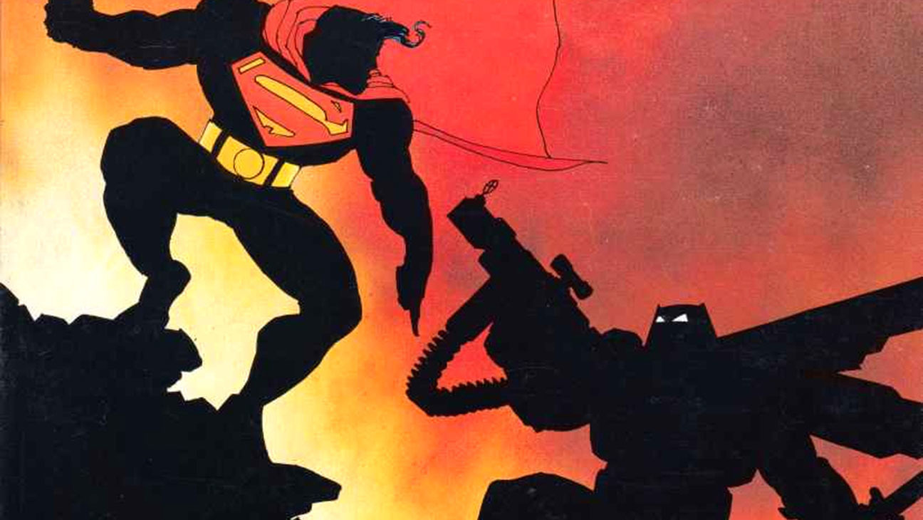 Frank Miller's version of Batman and Superman in 'Dark Knight' clash.