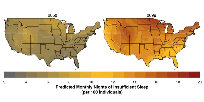 Areas of the western and northern United States -- where nighttime temperatures are projected to increase most -- may experience the largest future changes in sleep.