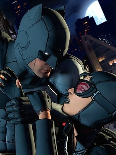 Bruce and Selina... hanging from a building?