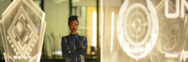 Michael Burnham gazes at the seal of the United Federation of Planets in 'Star Trek: Discovery'