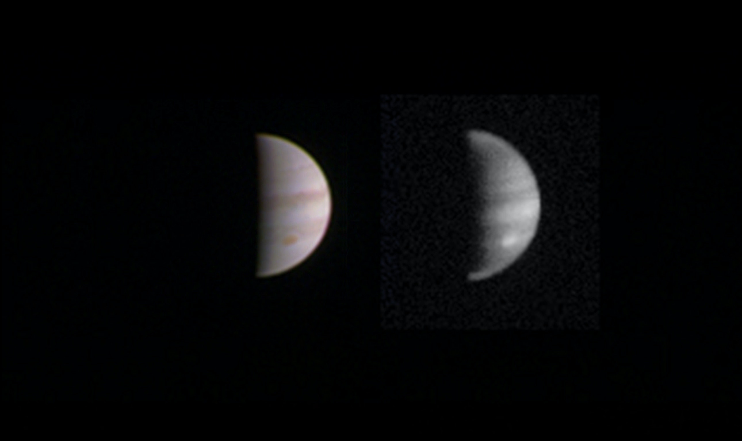 This dual view of Jupiter was taken on August 23, when NASA's Juno spacecraft was 2.8 million miles (4.4 million kilometers) from the gas giant planet on the inbound leg of its initial 53.5-day capture orbit.