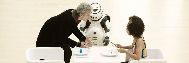 """The Doctor (Peter Capaldi) and Bill (Pearl Mackie) face the emoji bots in """"Smile."""""""