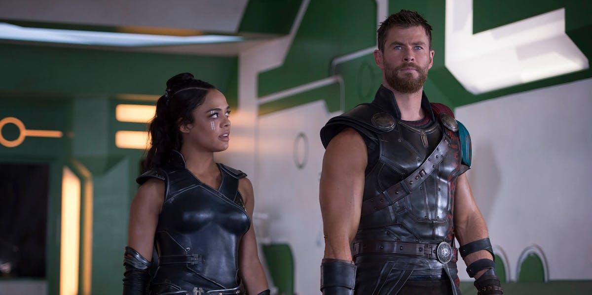 Chris Hemsworth and Tessa Thompson in 'Thor: Ragnarok'