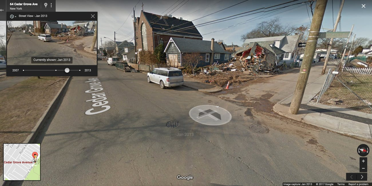 8 Wild Google Street View Images of New York City | Inverse Sandy Google Maps on google hurricane sandy, google earth sandy, goldman sachs hurricane sandy,