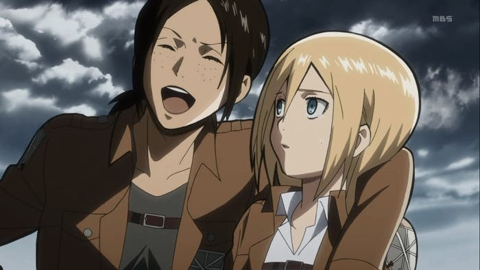 Ymir and Christa in Season 1.