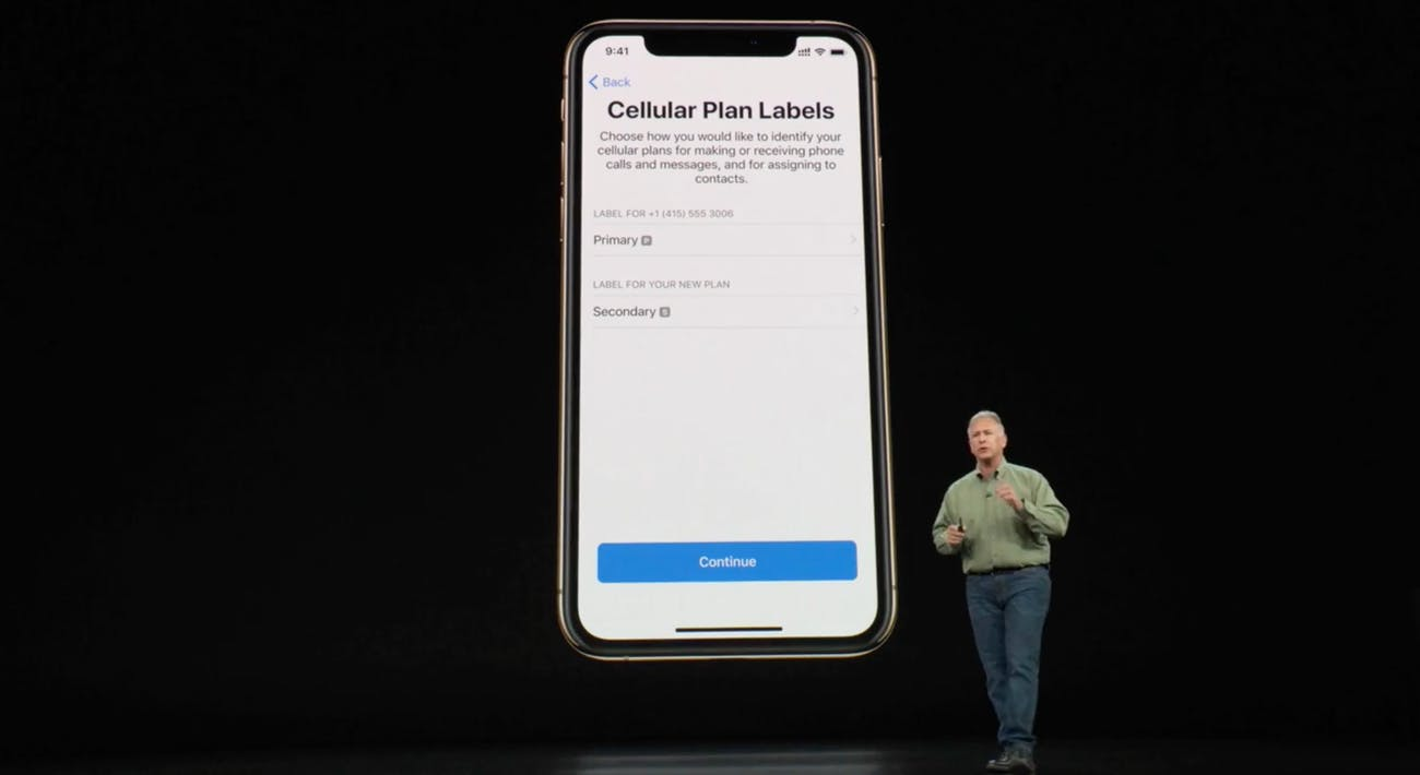 Schiller shows how cellular plan labels are labeled in the Settings menu of the new iPhone.