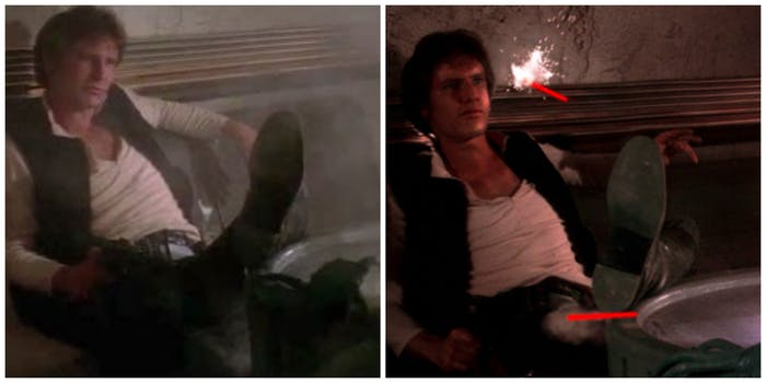 "Left: The original 1977 'Star Wars.' Right: One of the ""Special Editions"" in which Han doesn't shoot first."