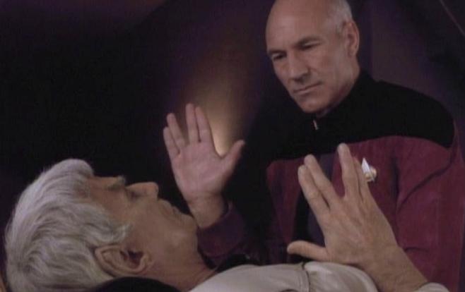 Sarek speaks to Picard on his death bed.