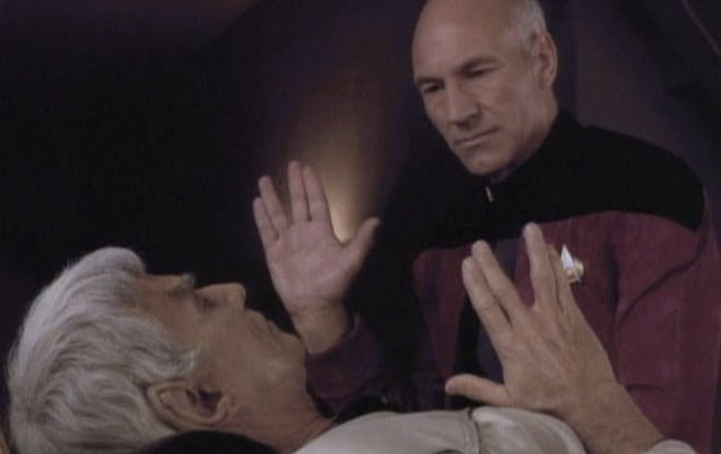 Sarek speaks to Picard on his death bed.