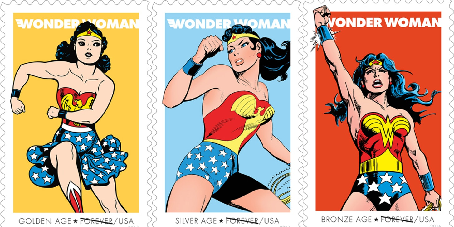 The U.S. Post Office celebrates Wonder Woman's 75th anniversary with special edition stamps.
